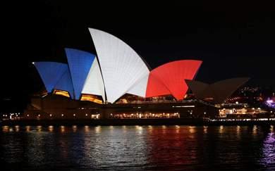 Australian Landmarks Light Up in Solidarity With France