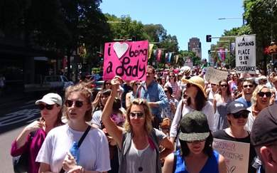 Women's March on Sydney Rallies with the World Behind Social Equality