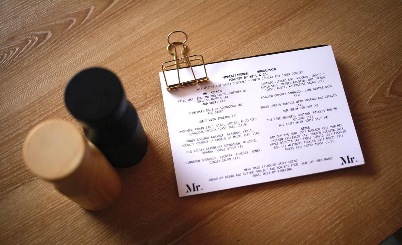 Mr Cafe Balmain Menu