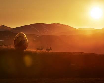 Sweden's Golden Egg-Shaped Sauna Is On the Move