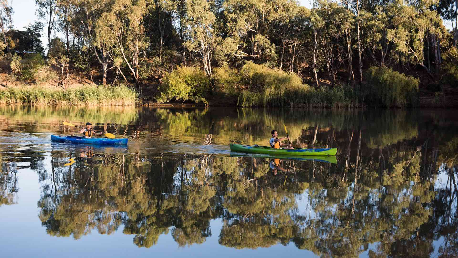 Kayaking on the Murray River at Wills Bend near Echuca