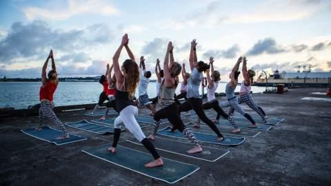 Sunrise Yoga on Queens Wharf