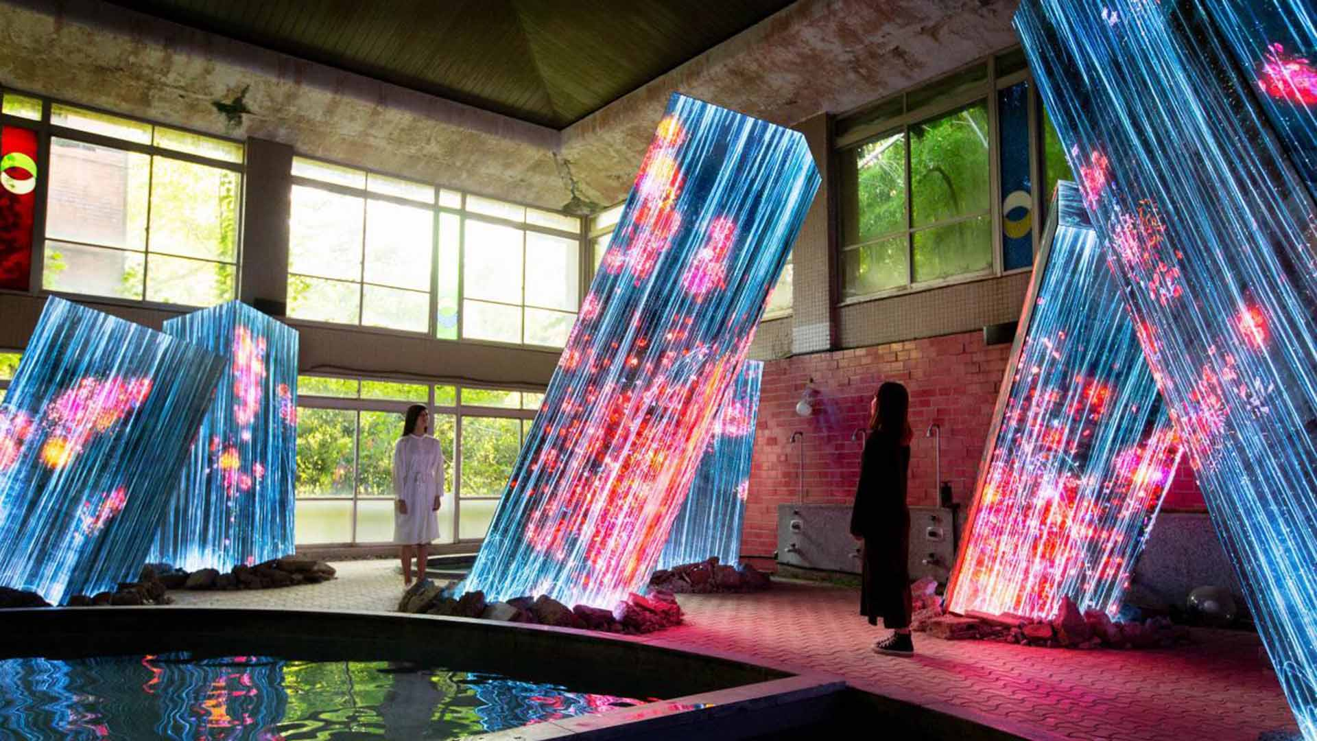 Teamlab's Latest Eye-Popping Site Combines Historic Ruins, Dazzling Digital Art and a Sauna