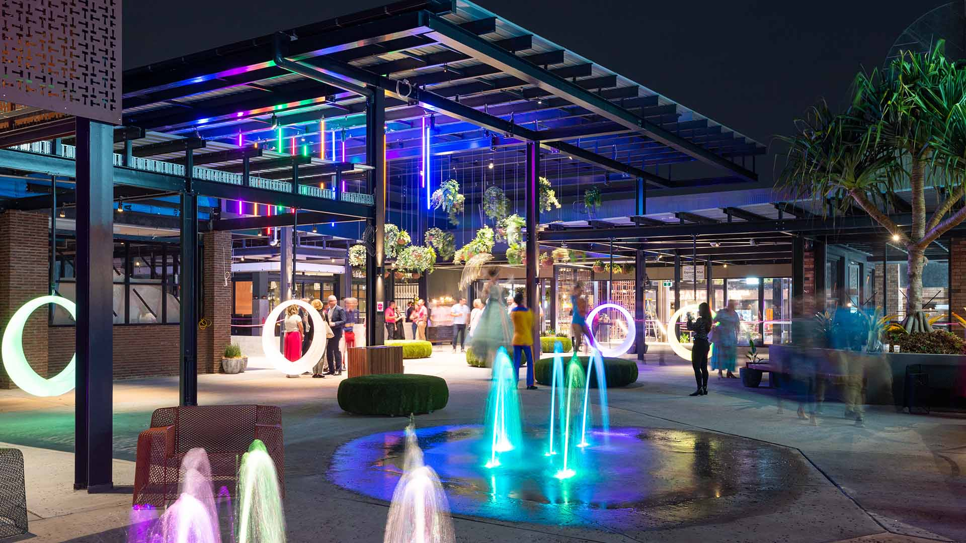 Upstairs at Toombul Is Brisbane's New Neon-Lit, Fountain-Filled Food Precinct