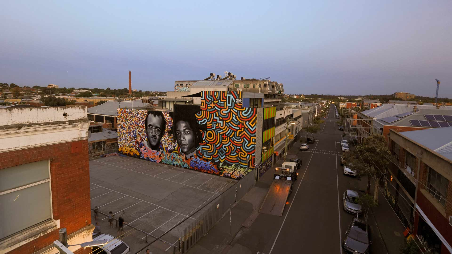 Collingwood Has a New 30-Metre-Wide Mural Dedicated to Keith Haring and Jean-Michel Basquiat