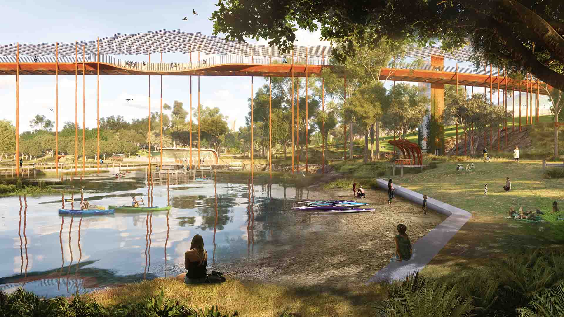 Brisbane's New 45-Hectare Inner-City Public Park Will Feature a Huge Lake and a High Ropes Course