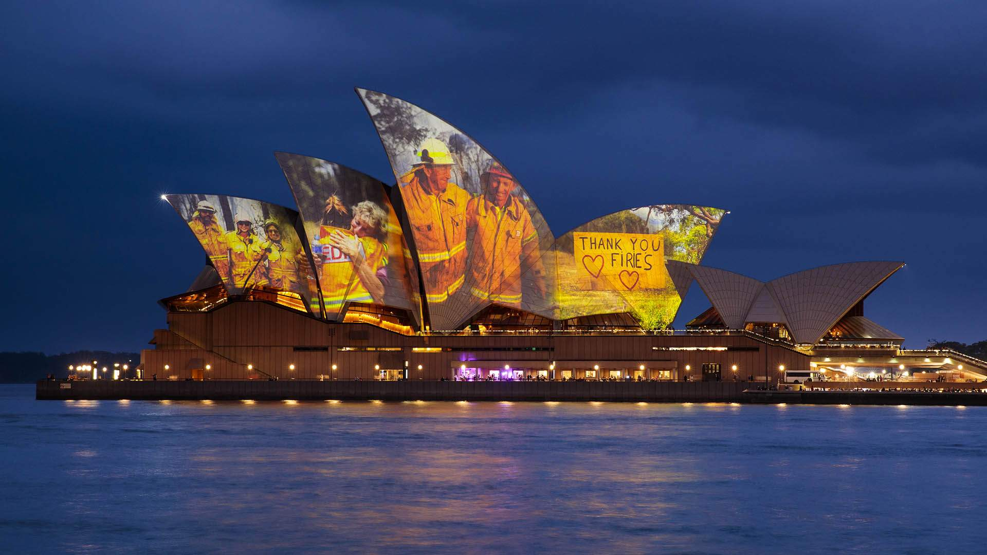 The Sydney Opera House Illuminated Its Sails with Images of Firefighters to Support Bushfire Relief