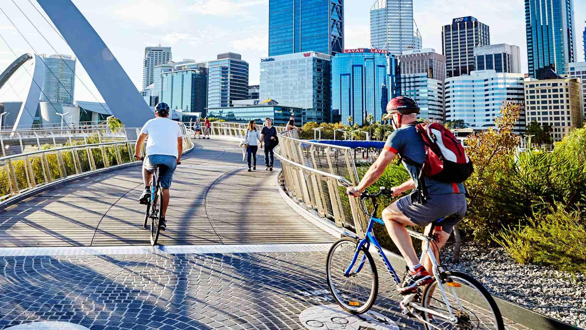 Cyclists at Elizabeth Quay, Perth