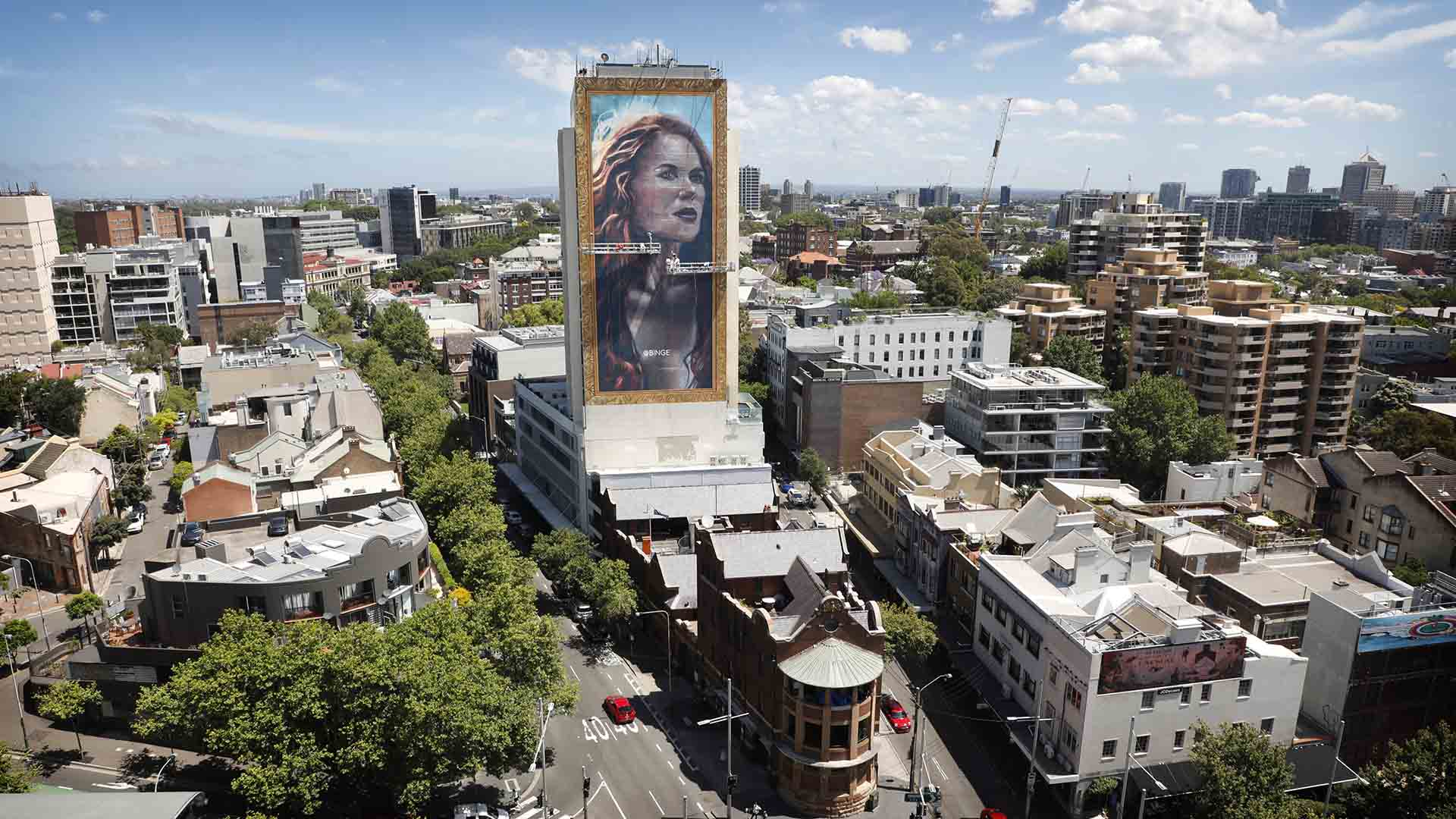 A Towering 18-Storey Painting of Nicole Kidman Has Temporarily Popped Up in Sydney