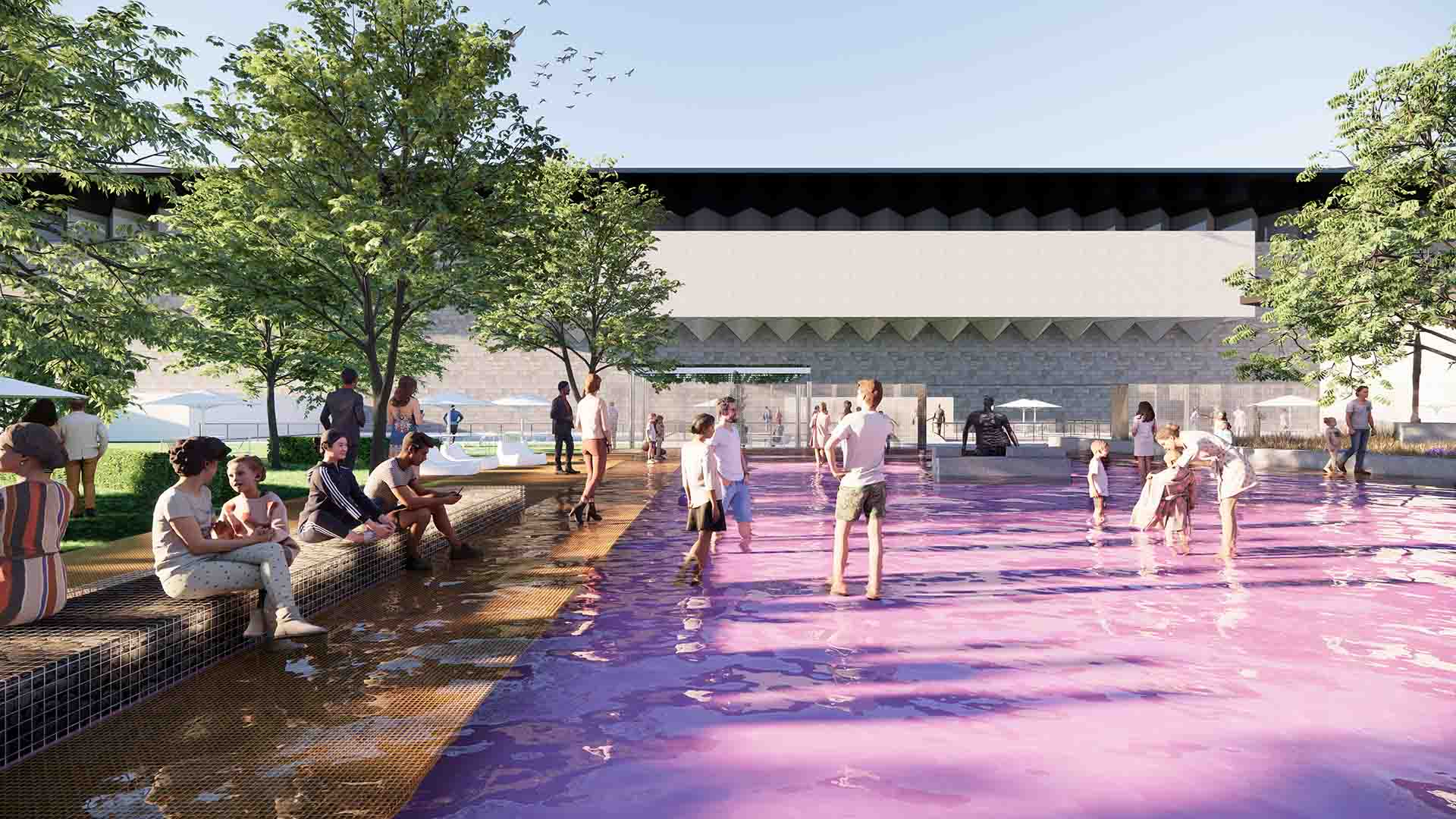 The National Gallery of Victoria's Garden Is Getting a New Pink Pond That You Can Wade Through